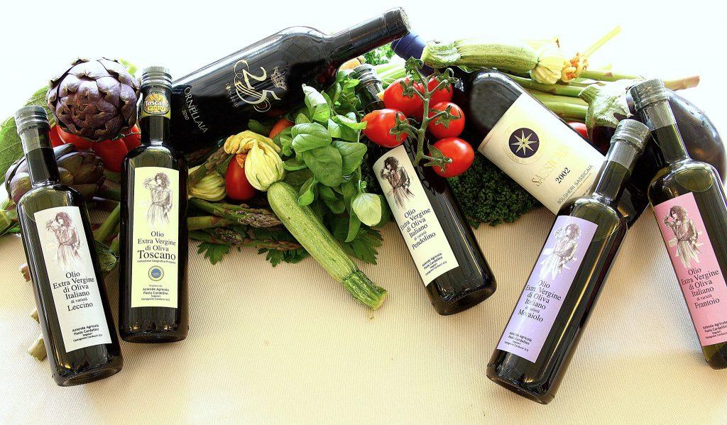 bottiglie olio verdura